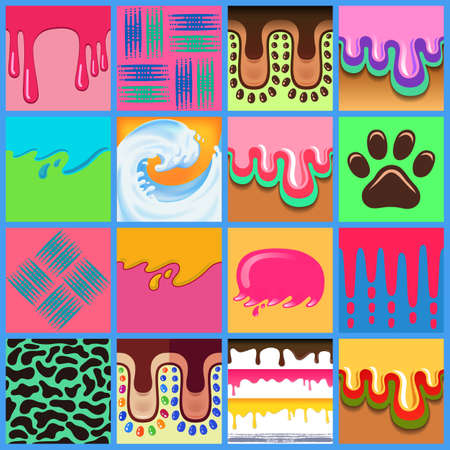 drippy: Colored seamless pattern drips background set Illustration