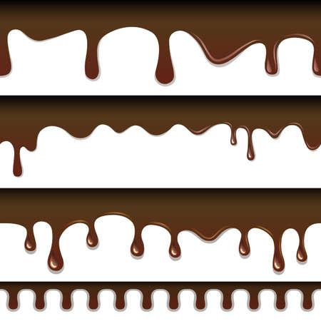 drippy: Chocolate seamless drips background Illustration
