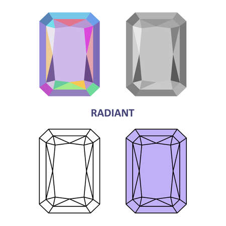 low cut: Low poly colored & black outline template radiant gem cut icons isolated on white background, illustration