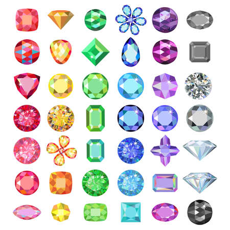 Popular low poly colored gems cuts set gradation by color of the rainbow isolated on white background, illustration Vectores