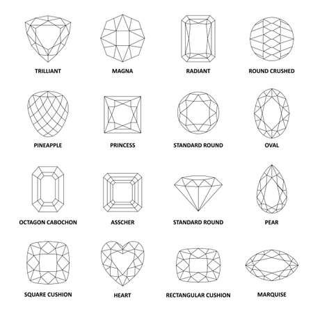 forme: Low poly noir populaire décrit gemmes coupes isolé sur fond blanc, illustration Illustration