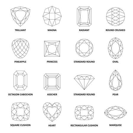 marquise: Low poly popular black outlined gems cuts isolated on white background, illustration Illustration