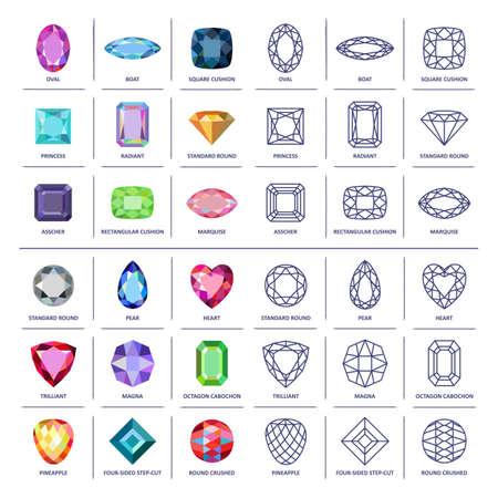 Low poly populaire gekleurde & blauwdruk overzicht sieraden edelstenen snijdt infographics op een witte achtergrond, illustratie Vector Illustratie