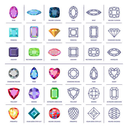 gems: Low poly popular colored & blueprint outline jewelry gems cuts infographics isolated on white background, illustration