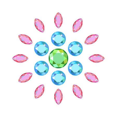 sapphire: Scattered around gems isolated on white background, illustration Illustration