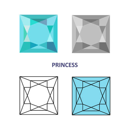 low cut: Low poly colored & black outline template princess gem cut icons isolated on white background, illustration