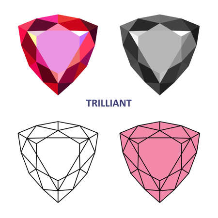 Low poly colored & black outline template trilliant gem cut icons isolated on white background, illustration Illustration