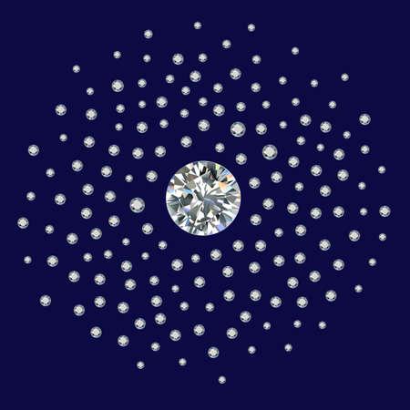 rhinestones: Small diamonds (gems, rhinestones) scattered around a large round diamond isolated on dark blue background, illustration
