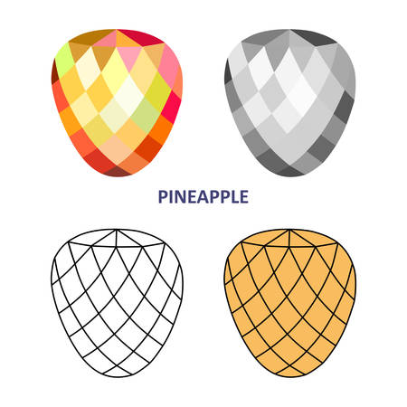 range fruit: Low poly colored & black outline template pineapple gem cut icons isolated on white background, illustration