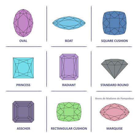 asscher cut: Low poly popular colored outline jewelry gems cuts infographics isolated on white background, illustration