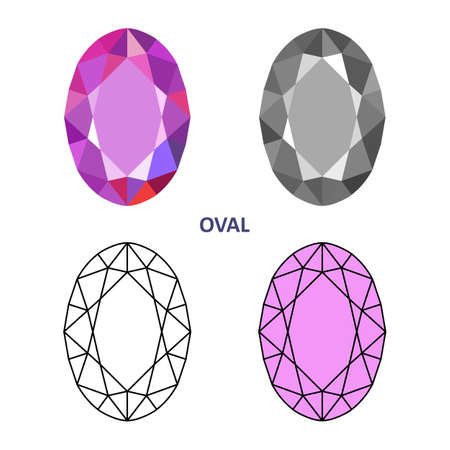 low cut: Low poly colored & black outline template oval gem cut icons isolated on white background, vector illustration