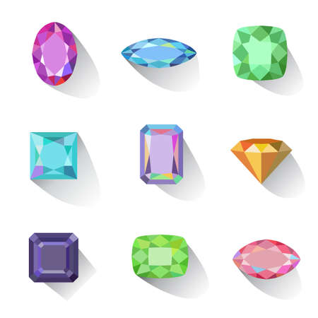 asscher cut: Flat style long shadow colored gems jewelry icons isolated on white background, illustration Illustration