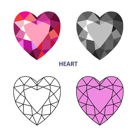 low cut: Low poly colored & black outline template heart gem cut icons isolated on white background, illustration