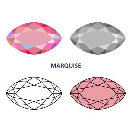 marquise: Low poly colored & black outline template rectangular marquise gem cut icons isolated on white background, illustration