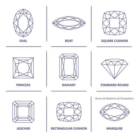 Las gemas de la joyería del esquema del anteproyecto popular bajo poli corta infografías aisladas sobre fondo blanco, ilustración Ilustración de vector