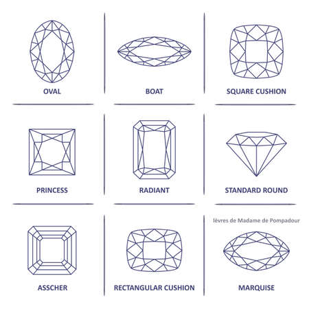 asscher cut: Low poly popular blueprint outline jewelry gems cuts infographics isolated on white background, illustration