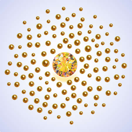 topaz: Gold pearls scattered around a large yellow sapphire isolated on background, illustration