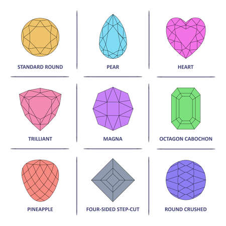 trilliant: Low poly popular colored outline jewelry gems cuts infographics isolated on white background, illustration