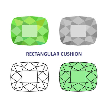 low cut: Low poly colored & black outline template rectangular cushion gem cut icons isolated on white background, illustration