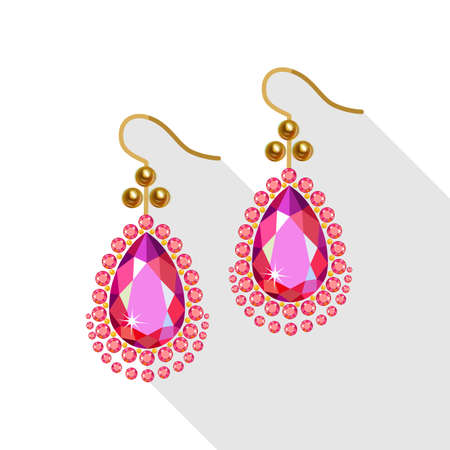 earrings: Earrings set (gold pearls, diamonds and ruby) isolated on white background, illustration