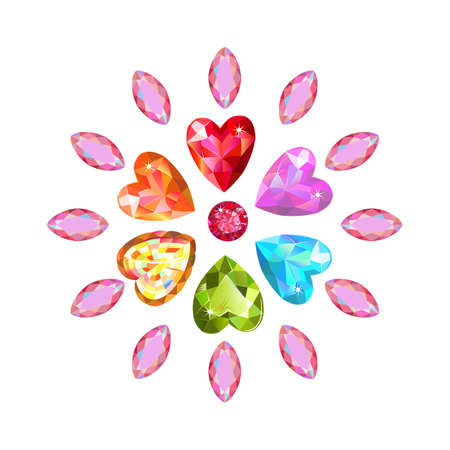 marquise: Texture of colored marquise & heart cut gems isolated on white background, illustration