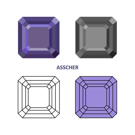 asscher cut: Low poly colored & black outline template asscher gem cut icons isolated on white background, illustration