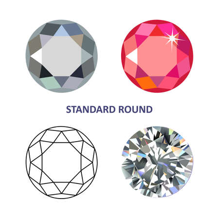 gems: Low poly colored & black outline template standard round gem cut icons isolated on white background, illustration Illustration