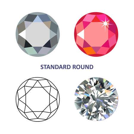 diamante: Poli baja de color y contorno negro plantilla estándar iconos redonda gema tallada aislada en el fondo blanco, ilustración