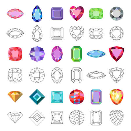 Low poly popular colored gems cuts isolated on white background, illustration