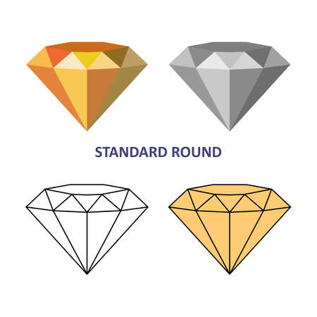 solitaire: Low poly colored & black outline template standard round gem cut icons isolated on white background, illustration Illustration