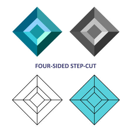 gems: Low poly colored & black outline template four-sided step-cut gem cut icons isolated on white background, illustration
