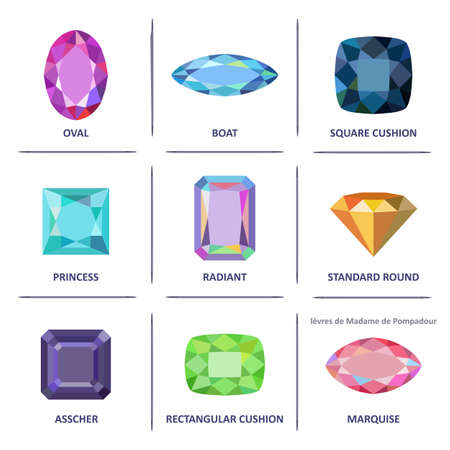 asscher cut: Low poly popular colored flat lay jewelry gems cuts infographics isolated on white background, illustration Illustration