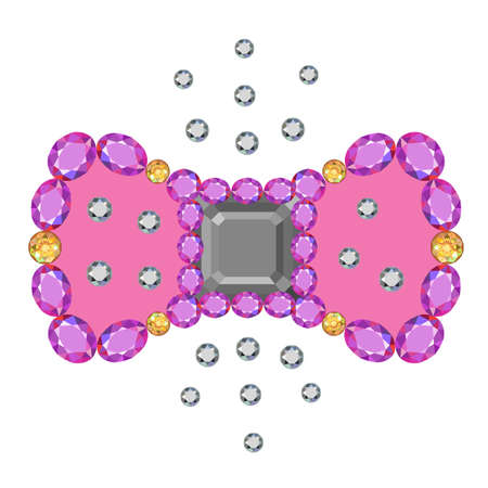 asscher: Gemstone asscher cut bow brooch isolated on white background, vector illustration