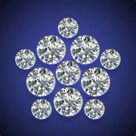 pentagon: Diamond pentagon brooch isolated on dark-blue background, vector illustration