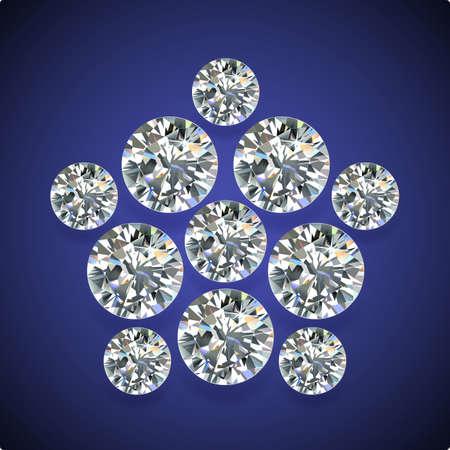 adamant: Diamond pentagon brooch isolated on dark-blue background, vector illustration