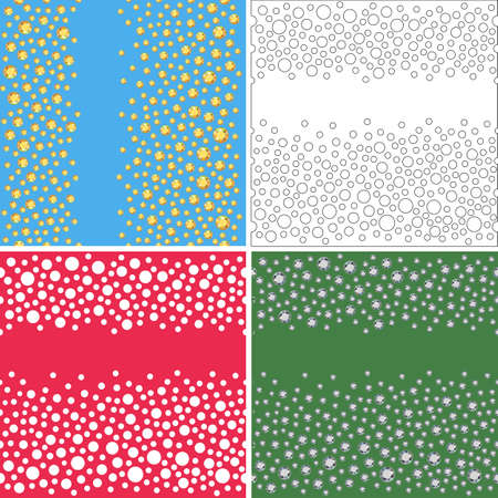 scattered: Seamless scattered textures set (crystals, rhinestones), vector illustration Stock Photo
