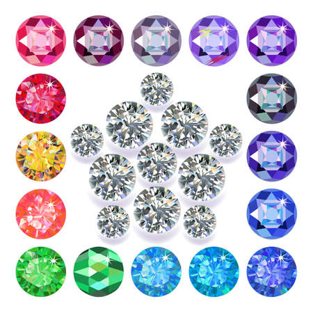 diamond stones: Diamond pentagon brooch encased in a squared frame of precious stones isolated on white background, vector illustration