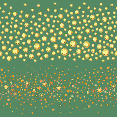 rhinestones: Seamless scattered circles & stars, rhinestones isolated on green background, vector illustration