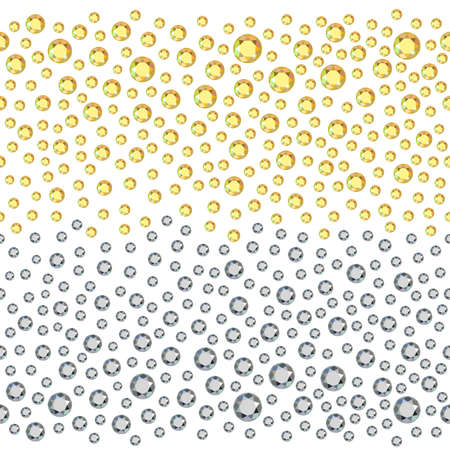 rhinestones: Seamless scattered golden & silver rhinestones isolated on white background, vector illustration
