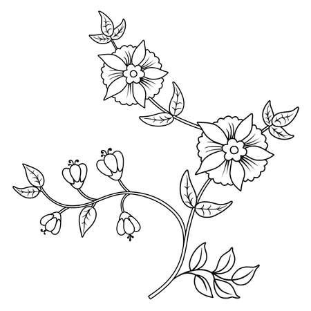 contours: Decor floral black outline elements set isolated on white background Illustration