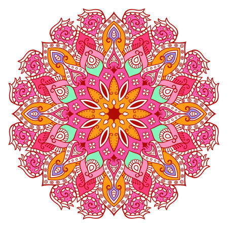 bohemia: Decor floral mandala isolated on white background