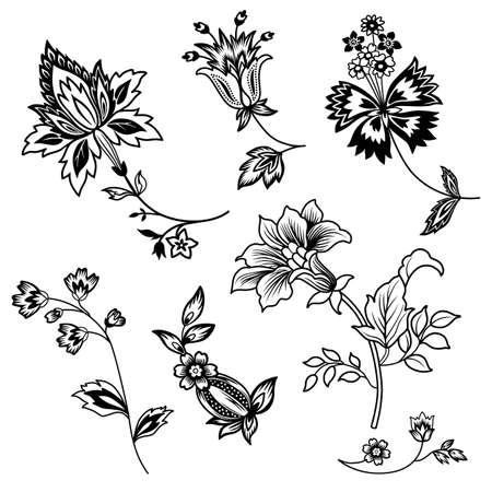 eternally: Flower branches black outline set isolated on white background