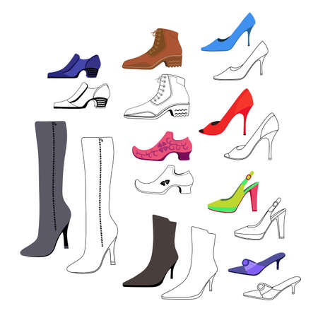 heel: Colored, outlined flat lay man & women shoes set, vector illustration isolated on white background