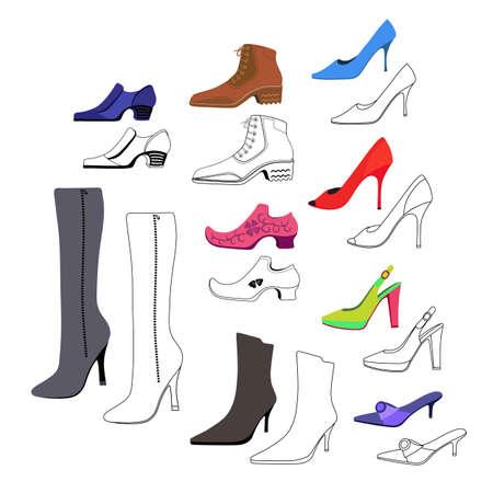 calcanhares: Coloridos, esboçado, planície, homem, mulheres, sapatos, jogo, vetorial, Ilustração, isolado ...