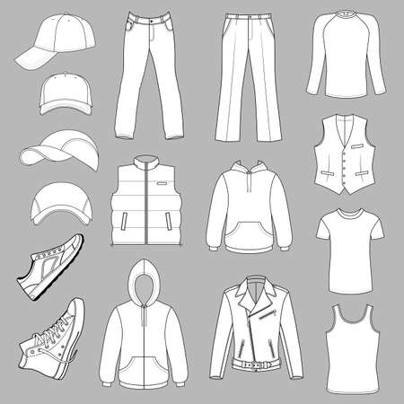 menswear: Outlined menswear, headgear & shoes season collection, vector illustration isolated on grey background