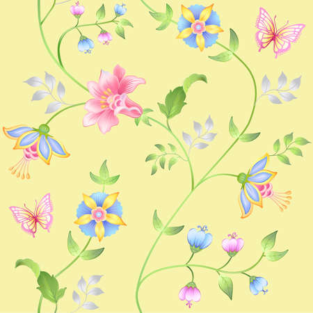 modest fashion: Decor floral elements seamless set isolated on yellow background (vector illustration) Illustration