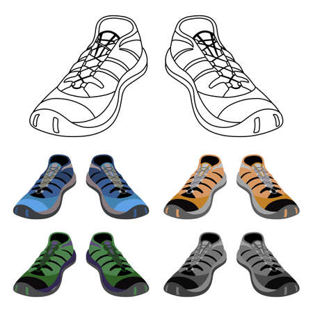 suede: Black outlined & colored sneakers shoes set front view, vector illustration isolated on white background Illustration