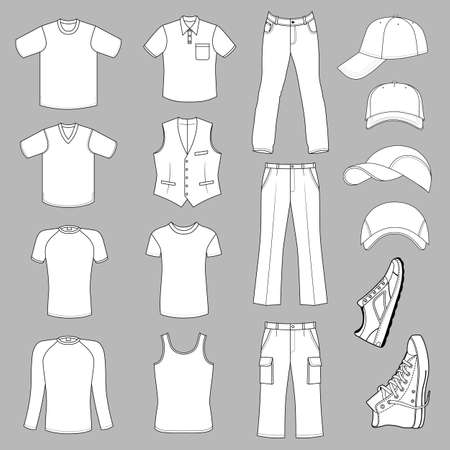 leather pants: Outlined menswear, headgear & shoes season collection, vector illustration isolated on grey background