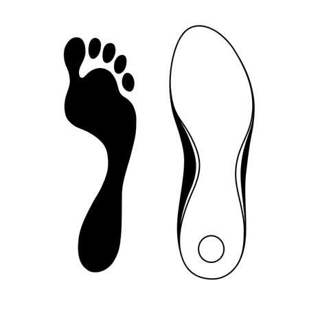 dibujos lineales: Negro se indica la zapatilla de deporte del zapato y suela, ilustración vectorial aislados en fondo blanco