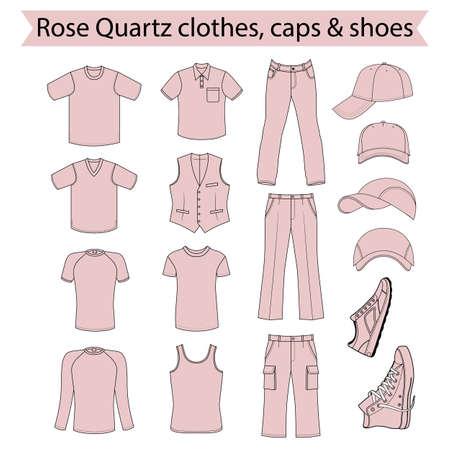 menswear: Menswear, headgear & shoes rose quartz  color season collection, vector illustration isolated on white background Illustration